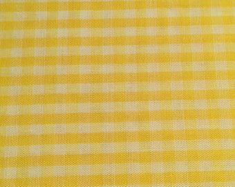 Yellow and White Gingham Cotton