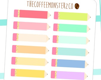 rainbow pencil labels - functional planner stickers C047