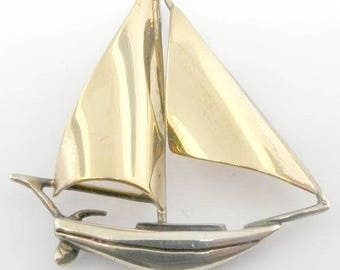 14K Yellow Gold Sterling Silver Sailboat Charm