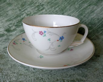 Vintage Floral Art Deco Tea Cup and Saucer Made in Portugal
