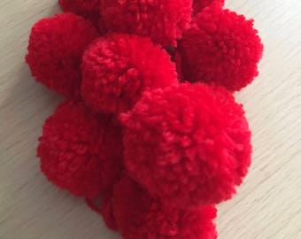 45mm Red Pom Poms, 10 Red Pom Poms, Red Wool Pom Poms, 10 Pom Pom, Baby Pom Poms, Pom Pom Decorations, Handmade Pom Poms, Christmas Crafting