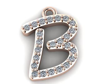 """Initial """"B"""" Pendant with 16-inch Length Cable Chain"""