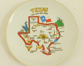 Vintage Outline of State of Texas on Souvenir Vacation Plate, State Map, Lone Star State, Flower Bluebonnet, Laredo, Padre Island, Lubbock