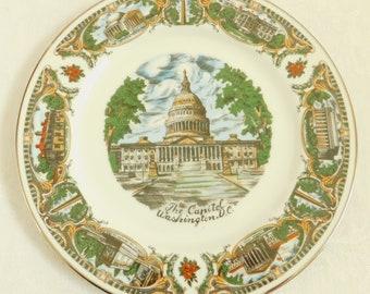 Vintage USA Capitol, Washington DC Souvenir Travel Plate, White House, Lincoln Memorial, Supreme Court, Tomb of the Unknown Soldier, CAPSCO