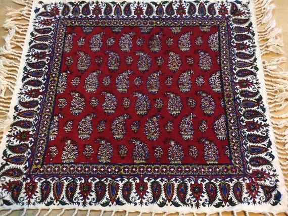 "Square red tablecloth, 16"" paisley table top, paisley design,farm house decor,dinner party,placemat set,eco friendly cotton,kitchen decor"