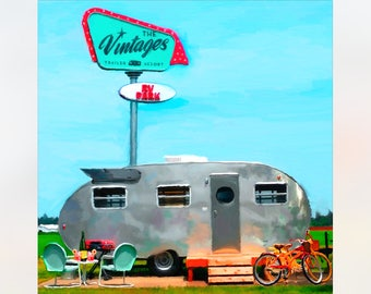 The Vintages, airstream painting, airstream trailer print, airstream art print, Vintage trailer art print, old camper trailer, camping art