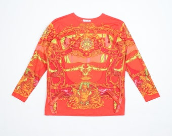 HERMES - Cotton t-shirt with baroque pattern