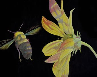 Bumble Bee & Flower Oil Painting
