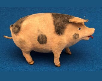 Early Composition & Felt Musical Pig Toy circa 1880's