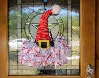 Santa Hat Wreath-Mini, Christmas Wreath-Mini, Mini Christmas Wreath, Christmas Door Decor-Mini, Christmas Mesh-Mini, Santa Face Mini Wreath