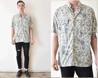 Floral Print Collared Short Sleeve Mens Button Up Brunch Shirt
