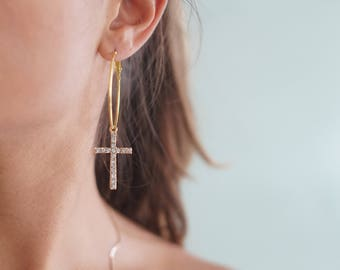 Cross Hoop Earrings. Rhinestone Earrings, Silver Hoops, Religious Earrings, Statement Hoop Earrings, Trendy Jewelry, Cross Pendant Earrings