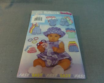 Baby Infant Rompers, Overalls, T Shirt, Shorts, Hat, Headband, Size NB, S, M, Uncut, Butterick 4898, 1997