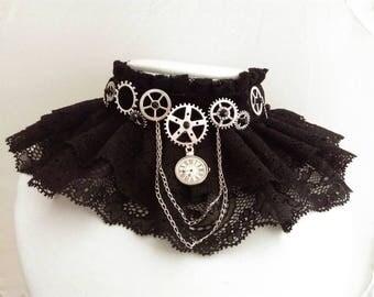Steampunk lace collar choker