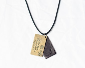 Black Men's Pendant / Men's Medallion / Men's Necklace / Genuine Leather Pendant / Men's Leather Necklace / Envelope Necklace