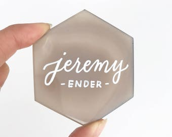 Premium Hexagon Geode Agate Place Cards   Hand cut and made with love   Personalized with Handwritten Calligraphy