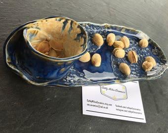 Olive nut dip plate platter ceramic handmade