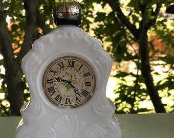 Vintage Avon white glass cream container / vintage avon