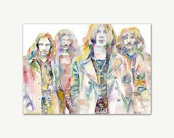 Black Sabbath Print, Poster, Original Watercolor, Portrait Painting, Printable Art, Wall Art, Home Decor, One Of A Kind, Rock Metal Music
