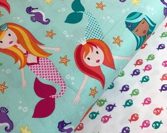 Sale Fairy Tales in Aqua and Guppie Fish Bundle from the Mer-Mates Collection from Michael Miller Fabrics, Mermaid, Seahorse