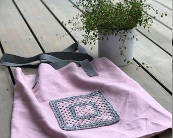 Linen tote, beach bag, linen bag, market bag with colorfull pocket