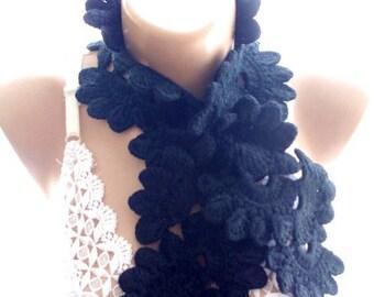 30 % DISCOUNT crochet lariat scarf, crochet lace scarf, crochet black lace scarf, scarves for her