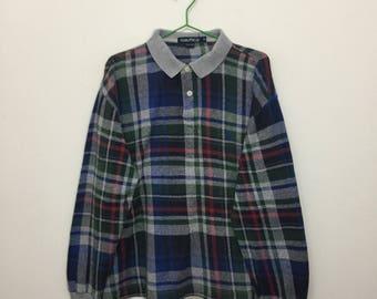 Vintage Nautica Sweater/Nautica Plaid Checkered Pullover Sweater/Sailing Gear/Size M