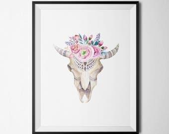 Bohemian Bull Skull Printable Nursery Decor Boho Floral Art Coral Nursery Wall Art Bull Horns Boho Bull Head Southwestern Wall Art Tribal