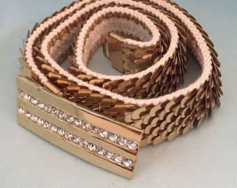GOLD Belt Stretch Belt Fish Scales articulated women's gold belt Stretchy Belt