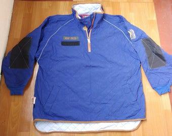 ECHO UNLTD jacket, vintage Ecko jacket of 1996 collection, 90s hip-hop clothing, 1990s hip hop, blue nylon college jacket, og, rap, size XL