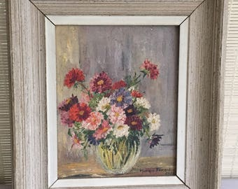 Framed Still-life of Flowers in a Vase. Oil on canvas painting of Flowers.