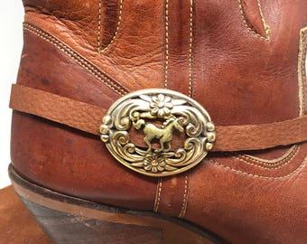 Boot Bracelet, Boot Jewelry, Brighton Concho buckle, Horse