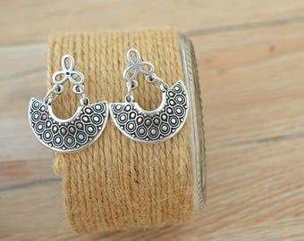 Antique silver dangling Greek Shield earrings, Silver half moon crescent earrings, Silver hemicycle dangle earrings,bohemian ethnic earrings
