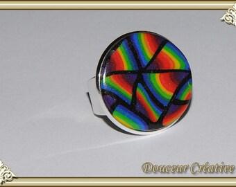 Ring multicolor black round Rainbow 102035