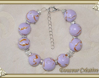 Gold beads Purple Purple purple bracelet 101010