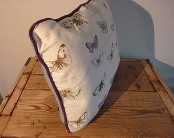 Celadon color with purple piping cushion