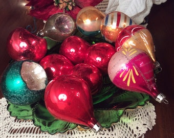 Mid century mix Christmas tree glass ornaments pear and round shape