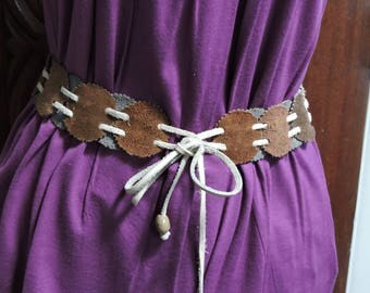 Vintage Leather/Suede Disc Reversible Concho Style Belt