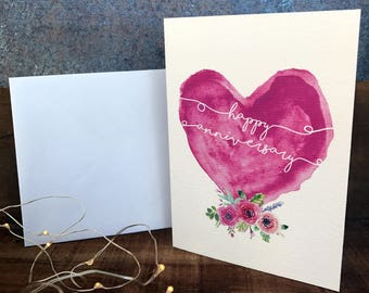 happy anniversary watercolour heart anniversary card, love, greeting card