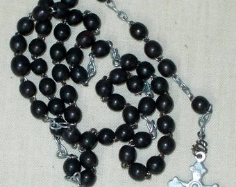 Small Rosary with black beads and Silver Metal Chain.