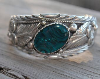 Vintage Sterling Silver Blue Shell Signed Percy Spencer Cuff Bracelet~ONE OF A KIND