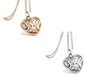 14K Rose Gold or Silver Hollow Heart Pendant Encased With Austrian Crystals Necklace Jewellery for Women Girls in Elegant Gift Box