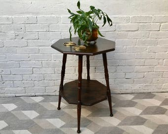 Vintage Table Plant Stand Octagonal #541