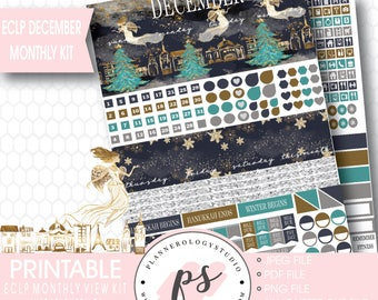 Hark the Herald Christmas December Monthly View Kit Printable Planner Stickers (for Erin Condren ECLP) | JPG/PDF/Silhouette Cut File
