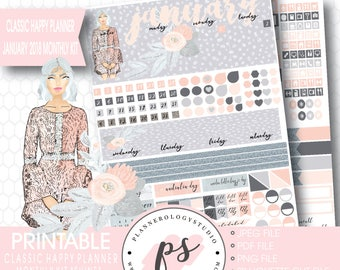 Shine January 2018 Monthly View Kit Printable Planner Stickers (for Classic Happy Planner) | JPG/PDF/Silhouette Cut File