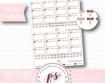 Paperclip Bow Marble Glitter Half Box Digital Printable Planner Stickers | JPG/PDF/Silhouette Cut File/Blackout Files
