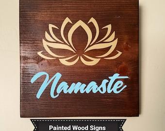 namaste wood sign saying wooden signs lotus and namaste yoga studio decor