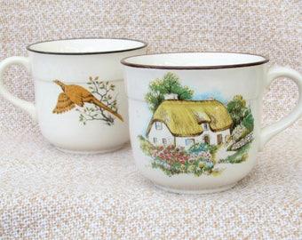 1970s set of 2 Irish tea cups mugs brendan Erin Stone Made in Arklow Ireland vintage porcelain Irish cottage 70s 80s
