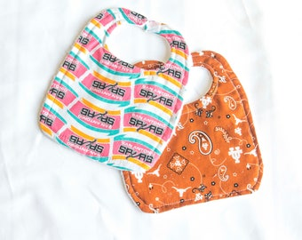 spurs or University of texas terry cloth bibs, velcro baby bibs, texas sports baby bibs, baby shower gift, spurs nursery, longhorn baby bib