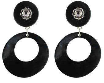 Black hoop clip earrings